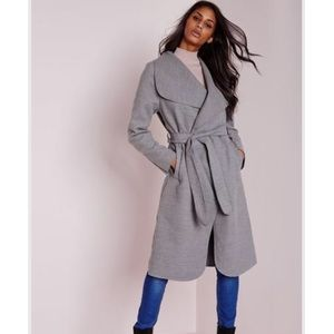 Missguided gray midi belted waterfall coat